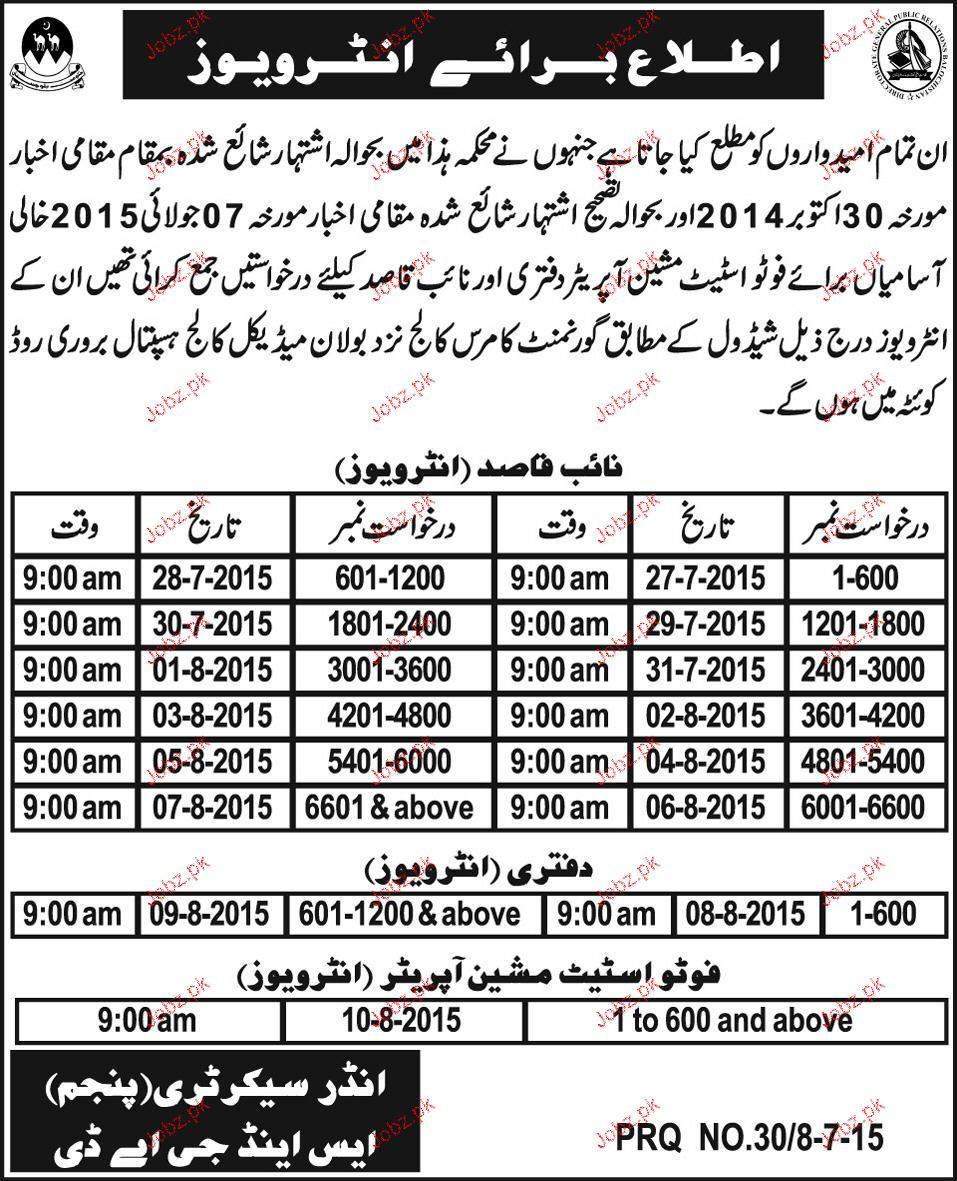 Photostate Machine Operators and Naib Qasid Wanted