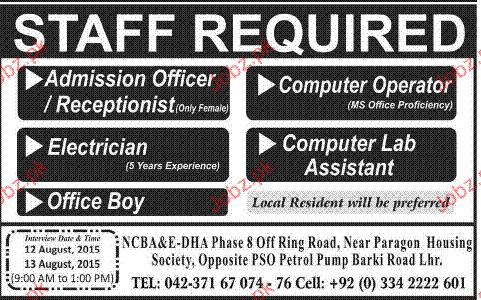Admission Officers, computer Operators Job Opportunity