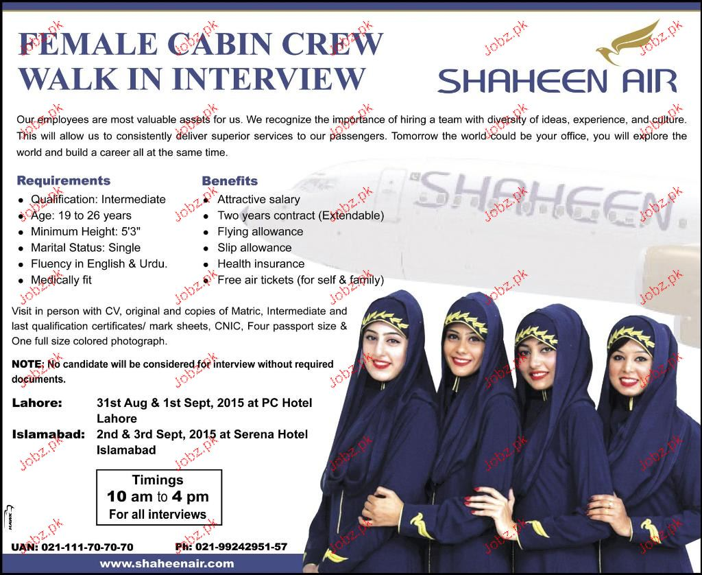Female Cabin Crew Job In Shaheen Air 2018 Jobs Pakistan