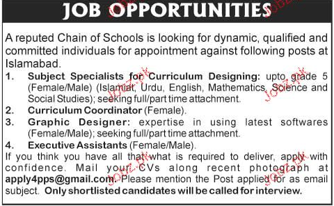 Subject Specialists, Curriculum Coordinators Job Opportunity