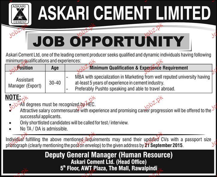 Assistant Manger Job in Askari Cement Limited