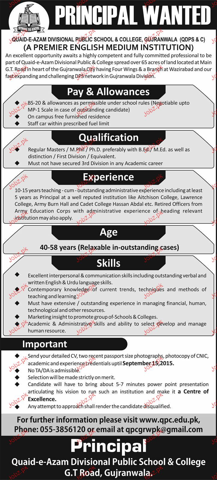 Principal Job in Army Public and College