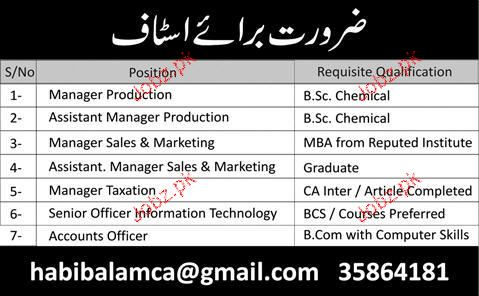 Manager Production, Manager Sales Job Opportunity