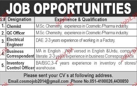 Qc Chemist Job 27.04.2017