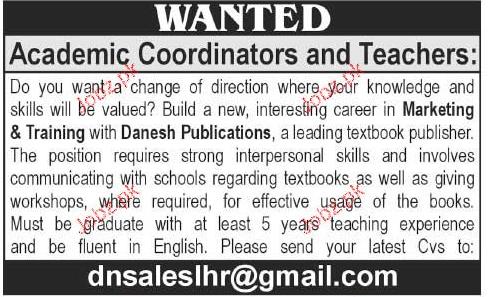 Teachers and Academic Coordinator Job Opportunity 2018 Jobs Pakistan