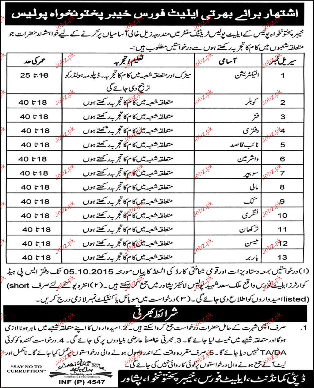 Electricians, Fiters, Naib Qasid, Washerman Job in KPK Polic