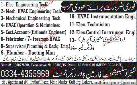 Electrical Engineers, Cost Accountant, Plumber Wanted