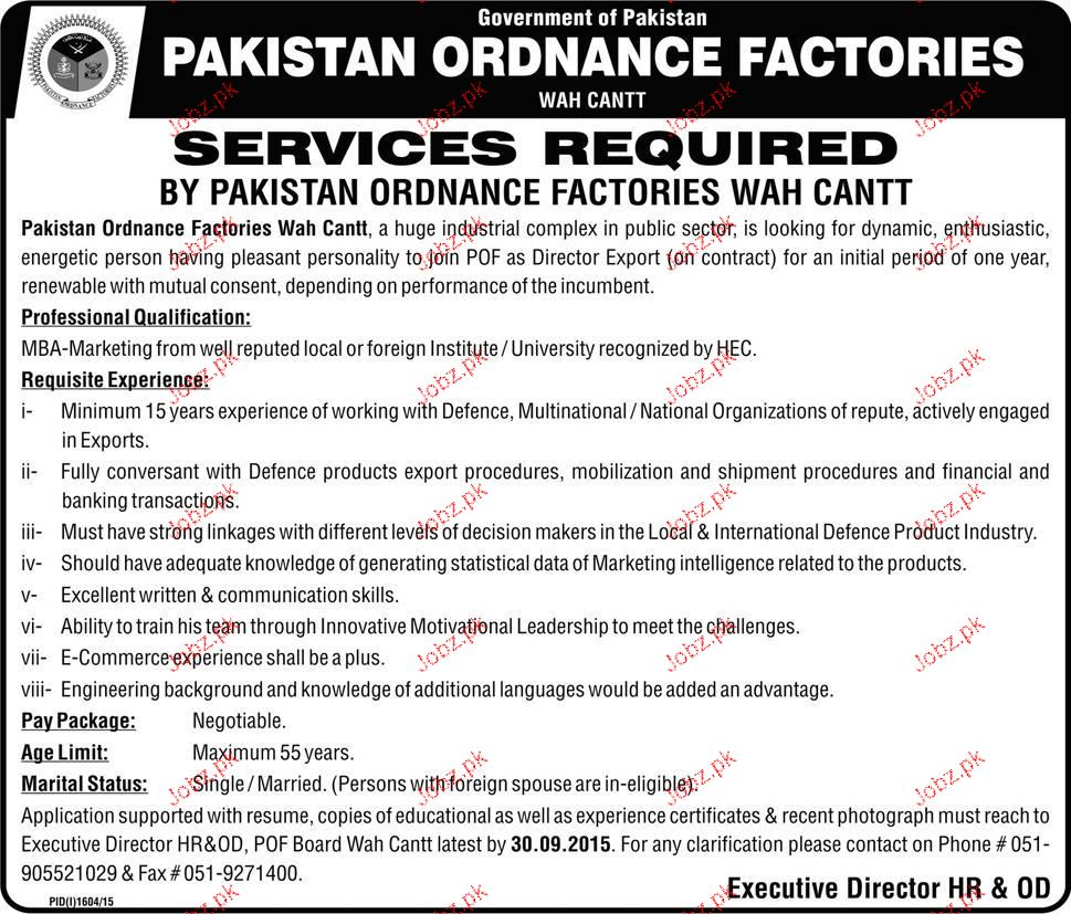 Director Exports Job in Pakistan Ordinance Factories