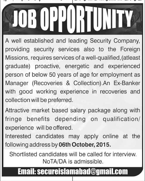 Manager Recoveries & Collections Job Opportunity