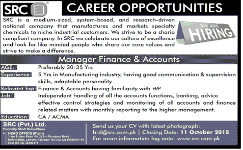 Manager Finance and Accounts Job Opportunity