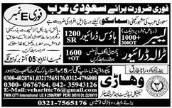 Labors, House Drivers and Tralla Drivers Job Opportunity