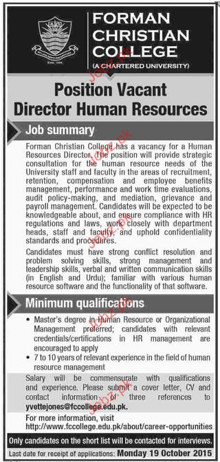Director Human Resources Job in Forman Christian College