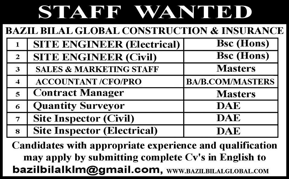 Site Engineers, Accountant, Contract Manger Job Opportunity