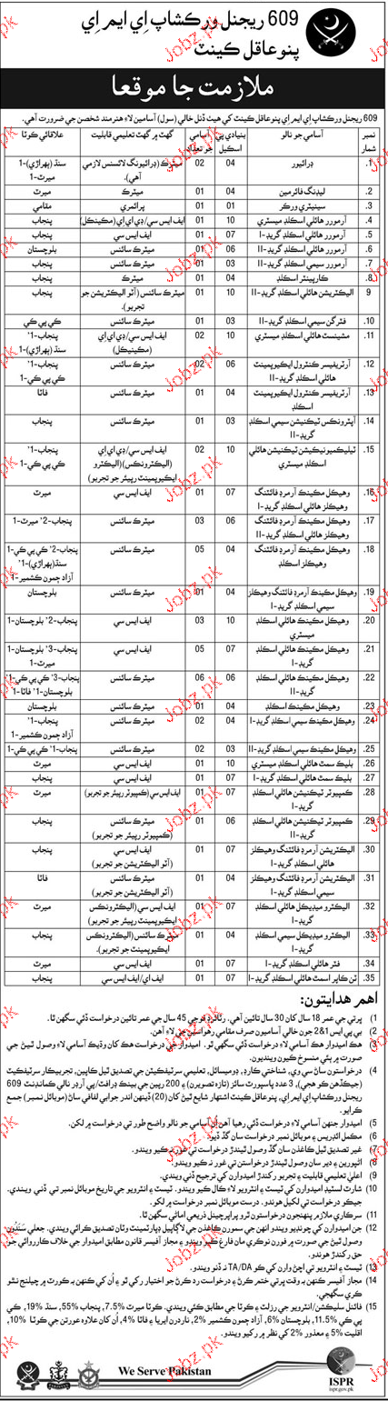 Drivers, Leading Fireman, Sanitary Workers Job in Pak Army