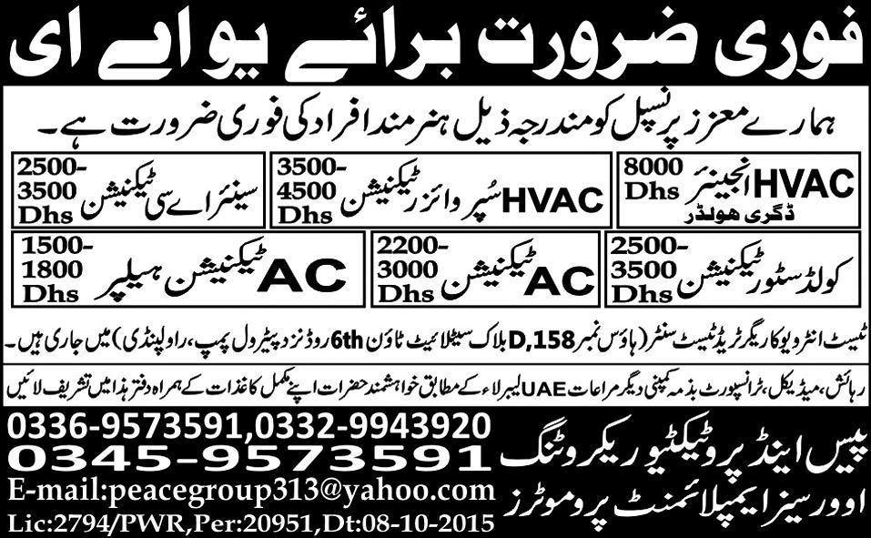 HVAC Engineers, HVAC Supervisor Job Opportunity 2017 Jobs Pakistan ...