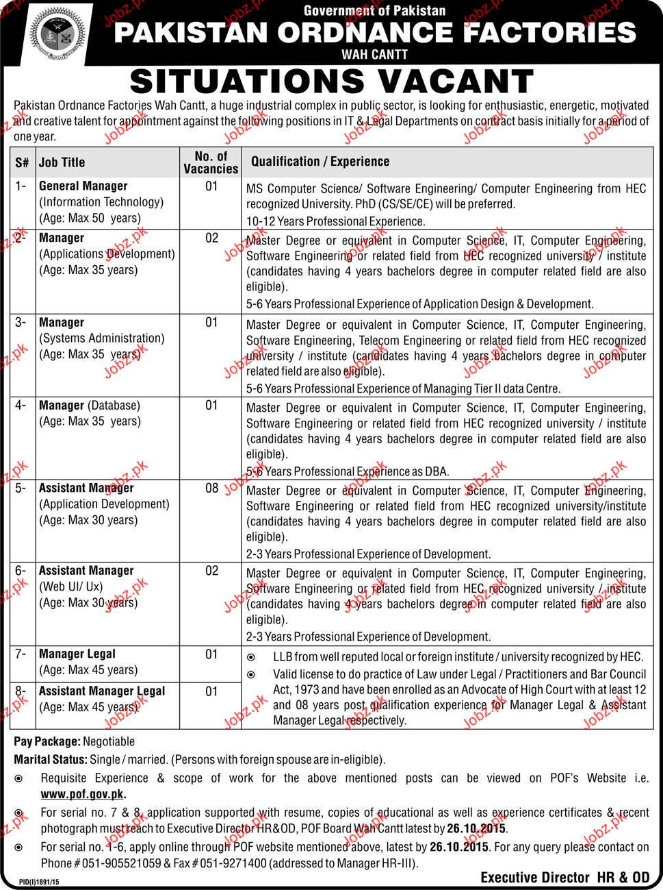 General Manager, Manager System Administration Job in OPF