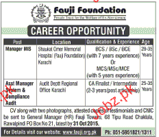 Manager MIS and Assistant Manager Job in Fauji Foundation