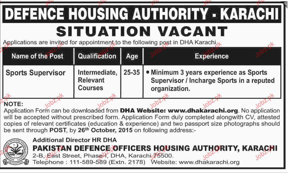 Support Supervisor Job In Dha Karachi 2018 Jobs Pakistan