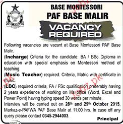 Montessori Incharge, Music Teachers Job Opportunity