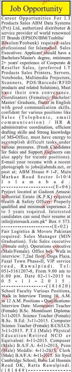 Coordinators, Sales Executives Job Opportunity
