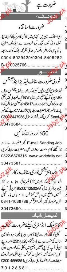 Female Teachers, Marketing Staff Job Opportunity