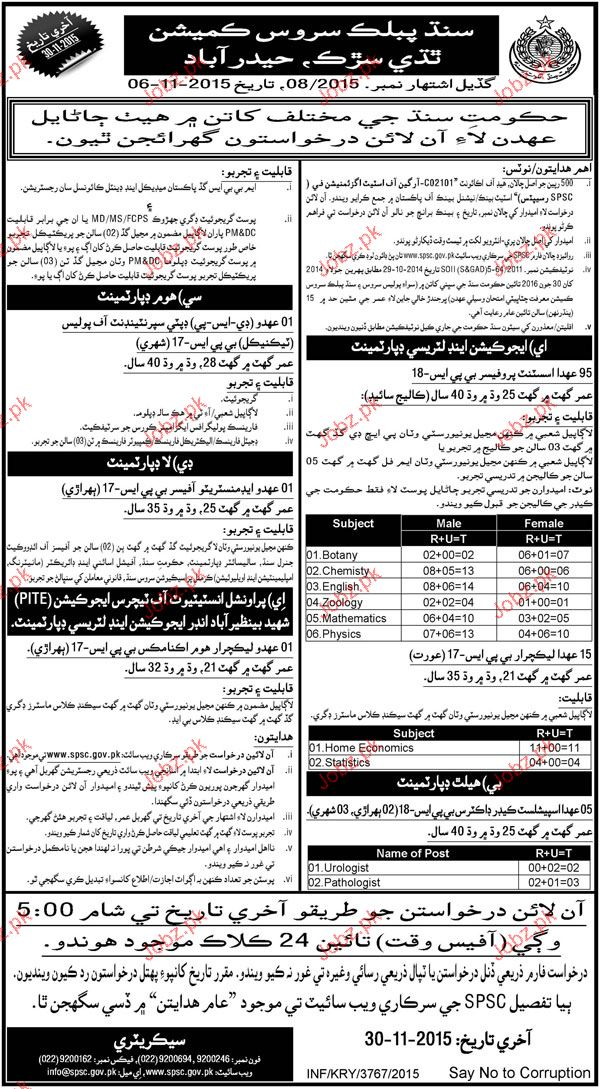 Assistant Professors, Specialist Doctors Job in SPSC