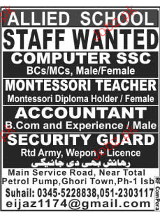 Security Guards, Teachers and Accountant Job Opportunity
