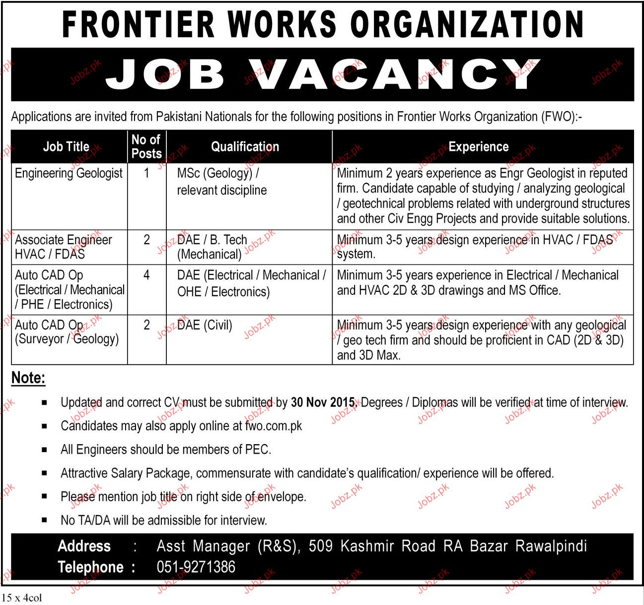 Engineers, Associate Engineers, Auto Cad Job in FWO 2019 Job