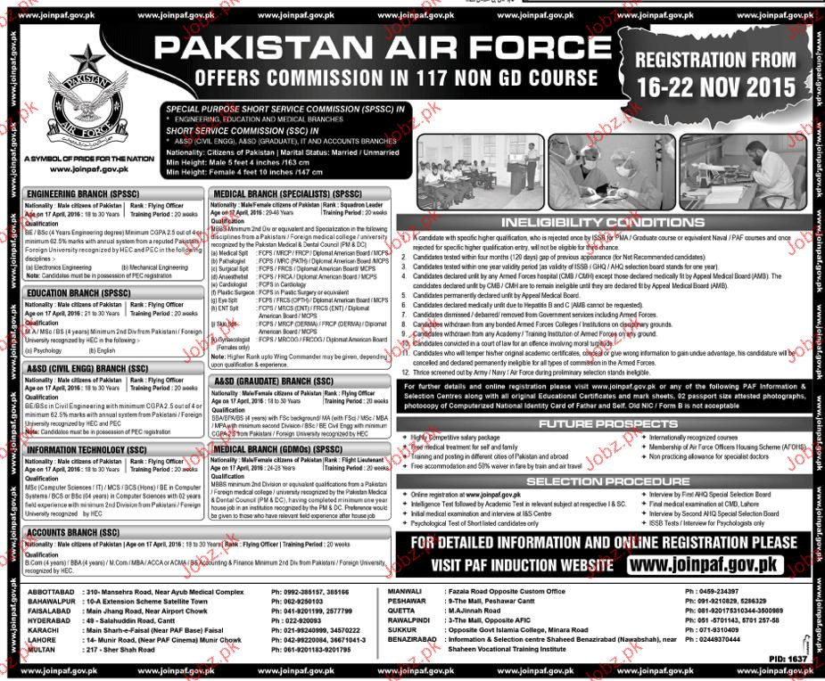 Recruitment as Officers in Pakistan Air Force