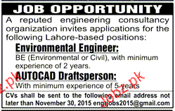 Environmental Engineer and Autocad Draftsperson Wanted