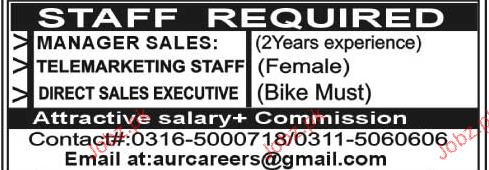 Manager Sales, Telemarketing Staff Job Opportunity