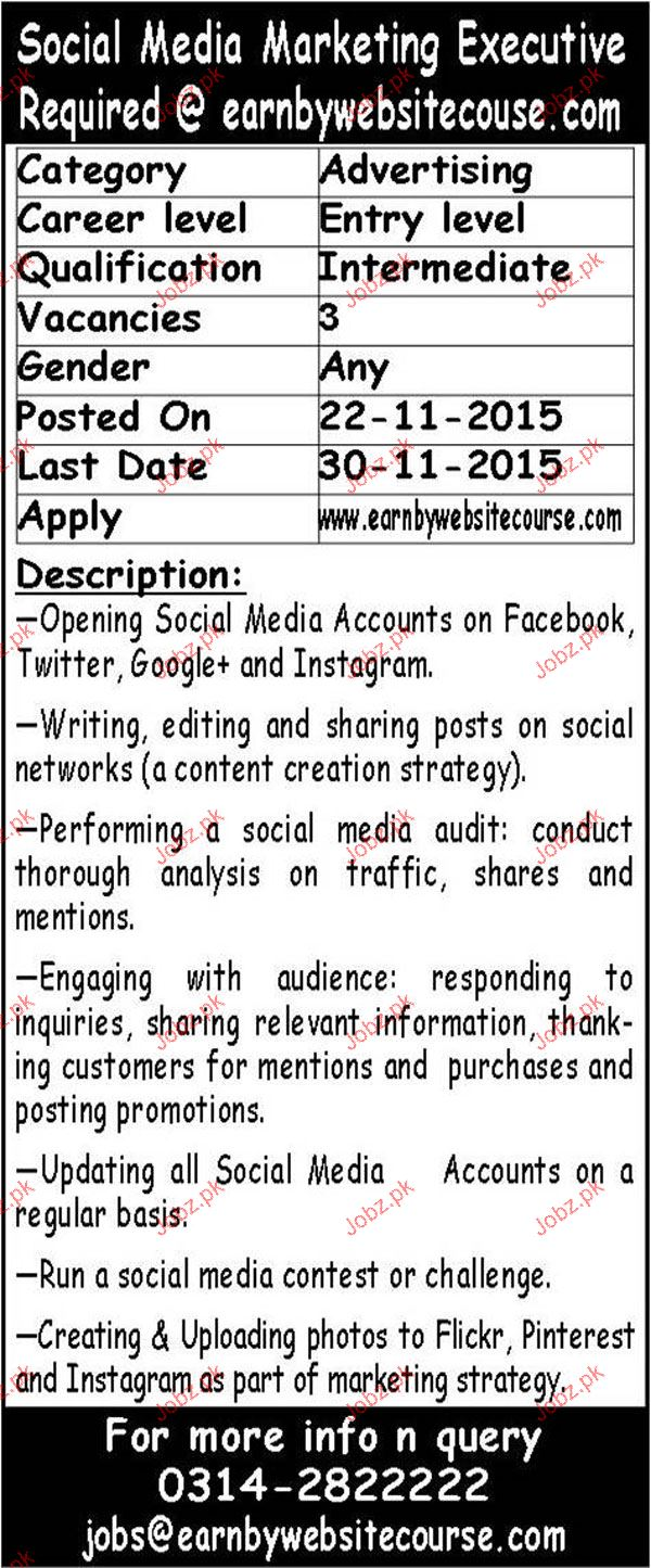 Social  Media marketing Executives Job Opportunity