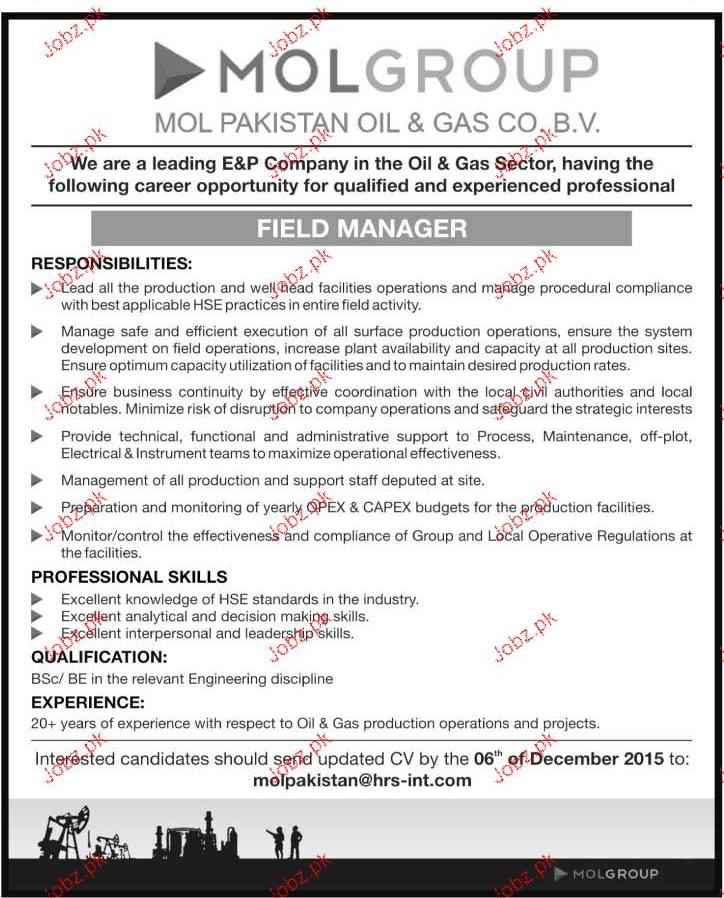 Field Manager Job Opportunity 2019 Job Advertisement Pakistan
