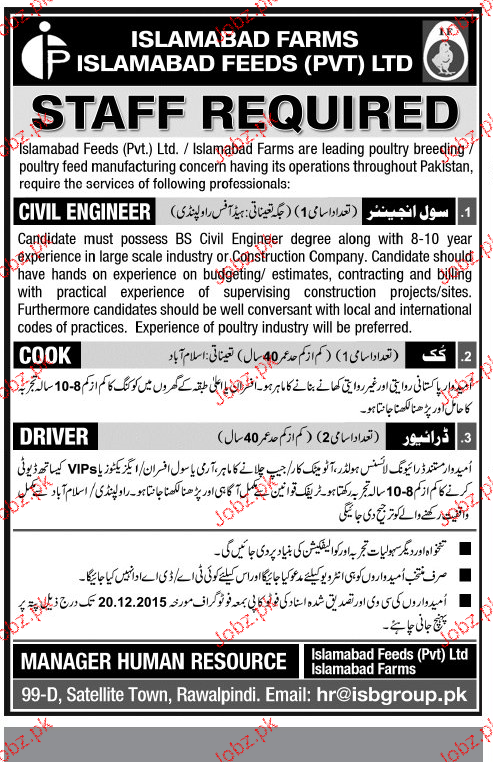 Civil Engineers, Cook and Drivers Job Opportunity