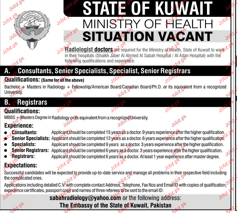 Consultants, Senior Specialists, Senior Registrar Wanted