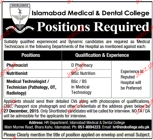 Pharmacists, Nutritionist and Medical Technologist Wanted