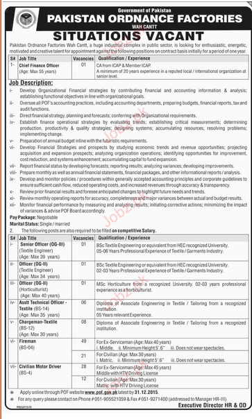 Chief finance Officer, Senior Officers, Officers Job in OPF