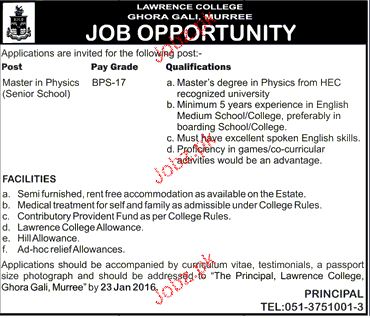 Lecture Physics Job in Lawerance College