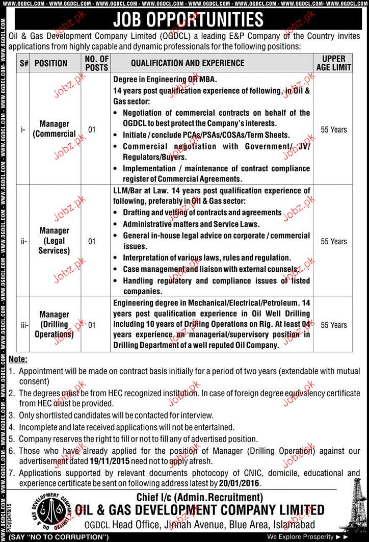 Manager Commercial Manager Legal Service Job In Ogdcl  Jobs