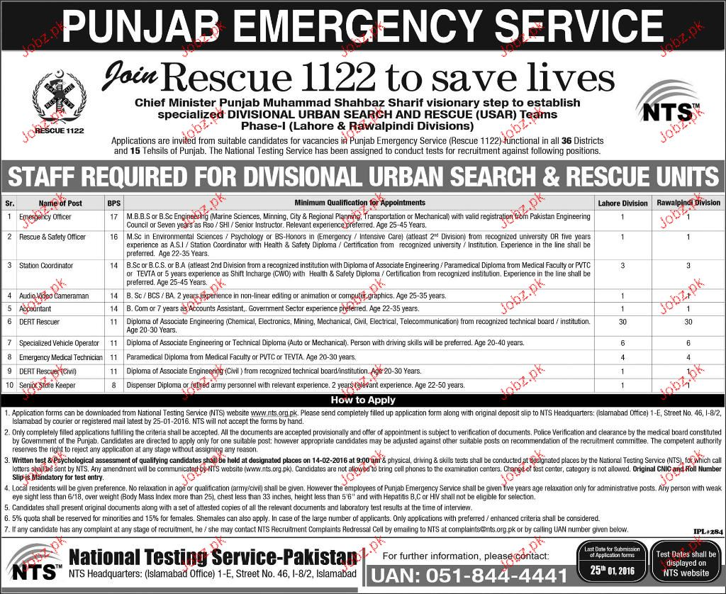 Emergency Officers, Station Coordinators Job in Rescue 1122