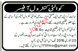 Quality Control Officers Job opportunity