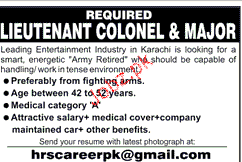 Lieutenant Colonel and Majors Job Opportunity