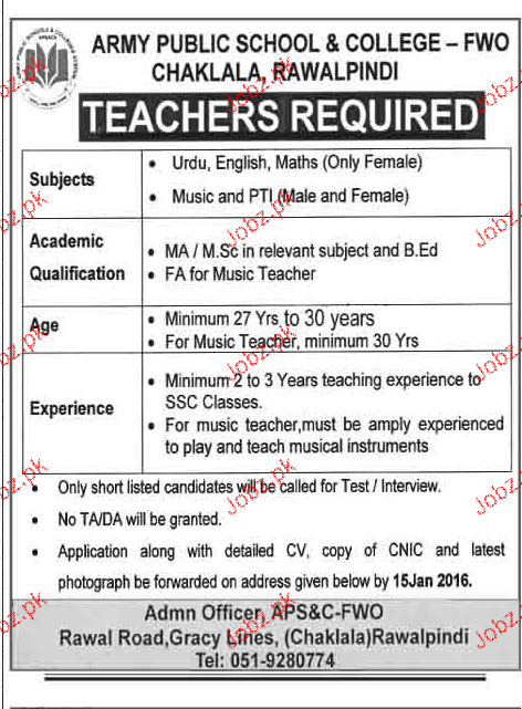 teachers job in army public school  u0026 college 2019 job