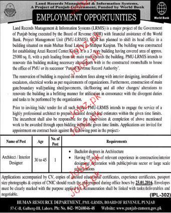 Architect / Interior Designers Job in Land Record Management