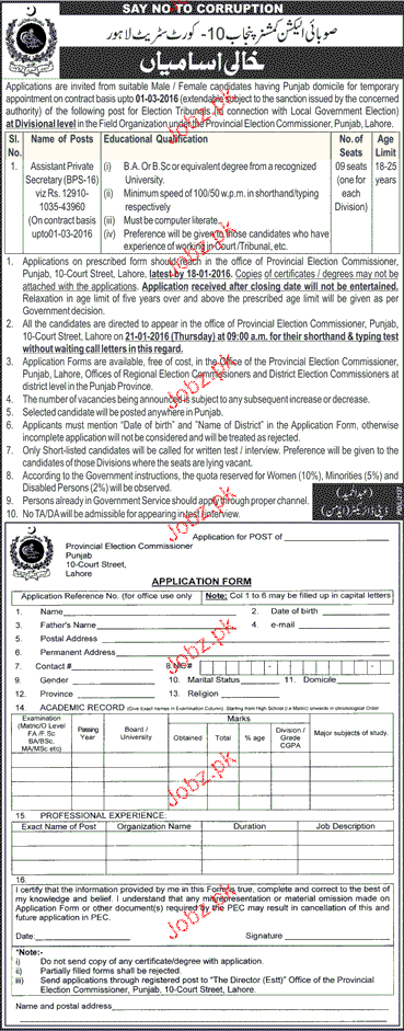 Assistant Private Secretary Job in Provincial Election