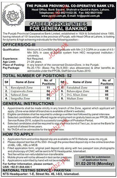 Officer OG-II Job in The Punjab Provincial Cooperative Bank