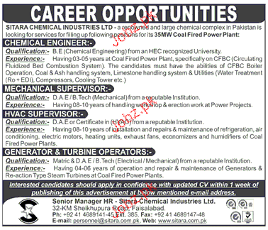Chemical Engineers, Mechanical Supervisor Job Opportunity