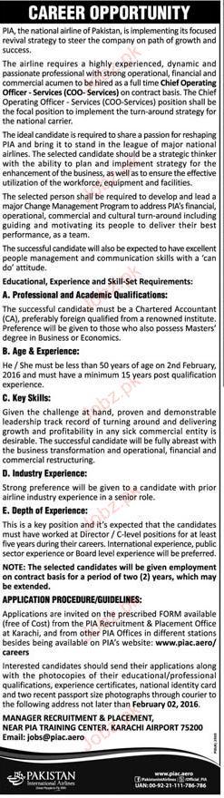 Chief operating officers job in pakistan international air 2019 job advertisement pakistan - Chief operating officer jobs ...