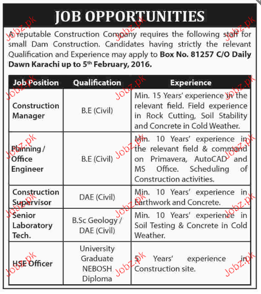 Construction Manager, Planning Officers Job Opportunity