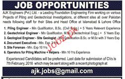 Geotechnical Engineers, Geological Engineers Job Opportunity